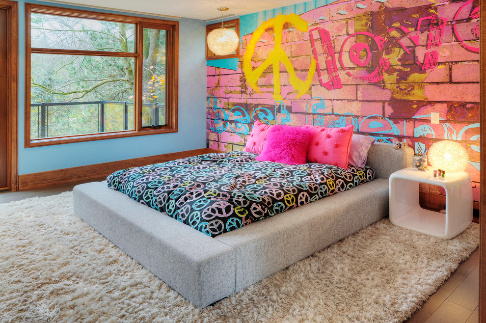 Kids' room - eclectic girl kids' room idea in Toronto with multicolored walls