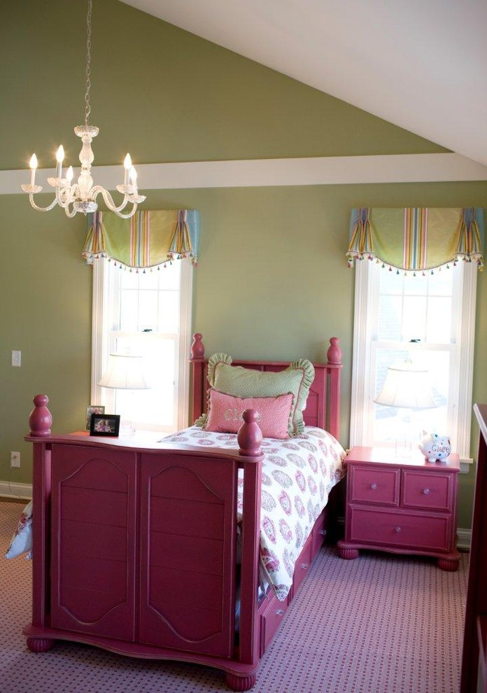 Kids' room - traditional kids' room idea in Minneapolis with green walls