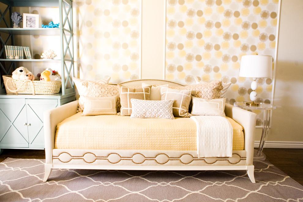 Inspiration for a transitional gender-neutral dark wood floor kids' bedroom remodel in Los Angeles with beige walls