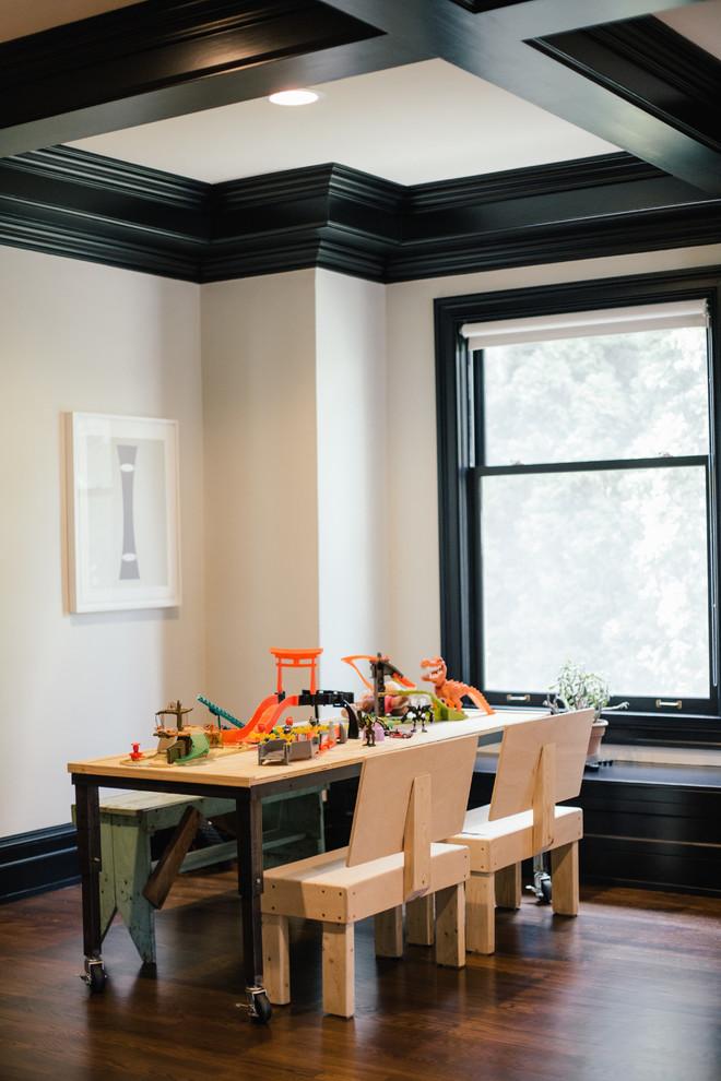 Kids' room - industrial medium tone wood floor and brown floor kids' room idea in Detroit with white walls