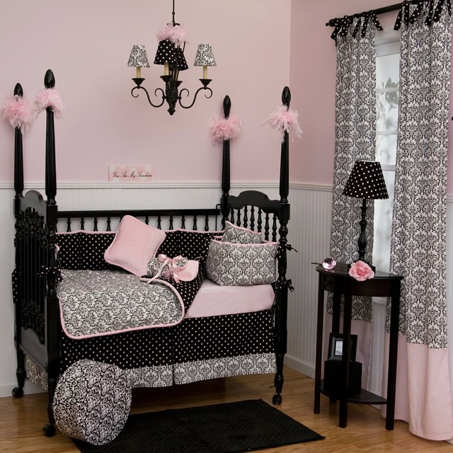 Black And White Damask Crib Bedding Traditional Kids