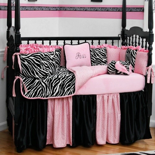Black and white zebra crib bedding collection by carousel for Black and white zebra print bedroom ideas