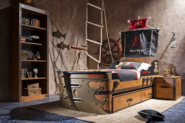 Black Pirate Kids Bedroom Collection Eclectic Kids Miami - Kids pirate bedroom furniture