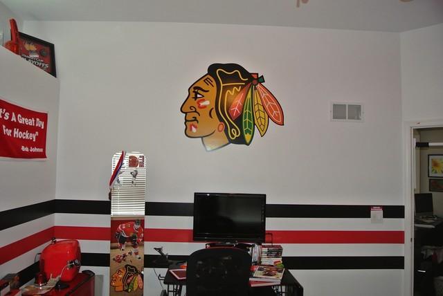 Blackhawks wall decor : Blackhawks hockey themed paint scheme