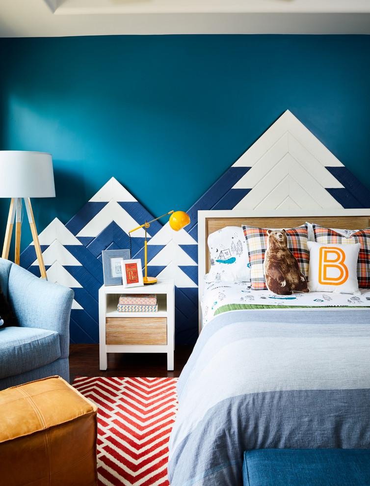 Foto de dormitorio infantil de 4 a 10 años, actual, pequeño, con paredes azules