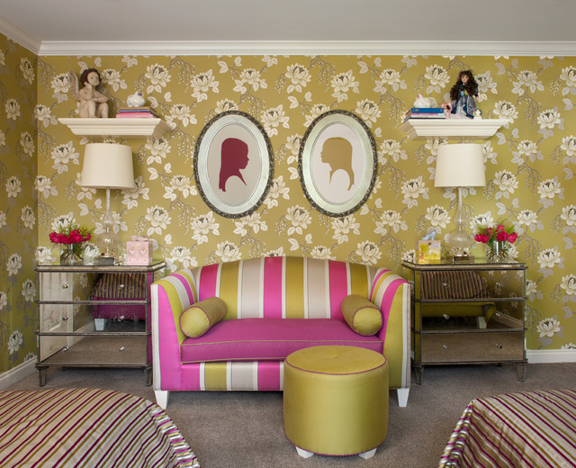 Kids' room - transitional girl carpeted kids' room idea in Detroit with multicolored walls