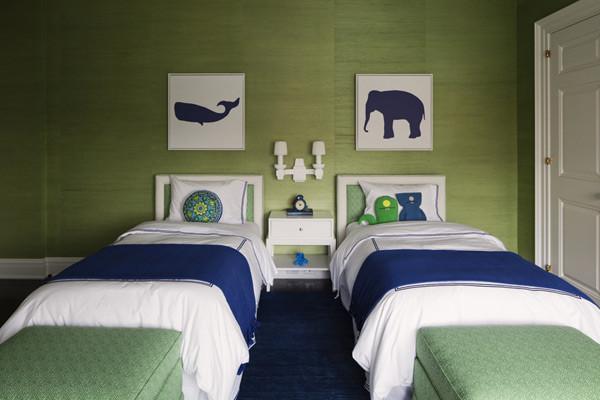 Blue & Green Boys Room contemporary kids