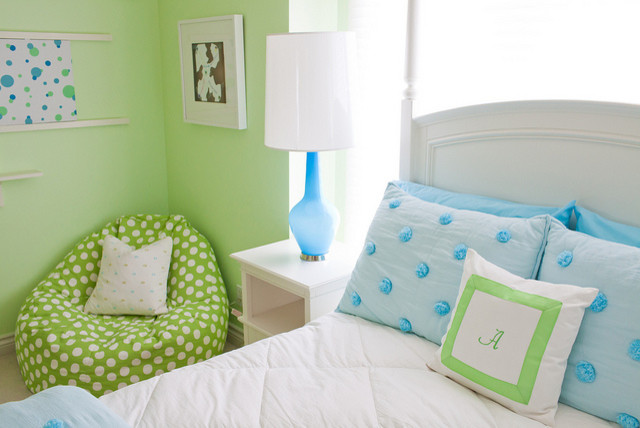Blue & Green Girls Room modern kids