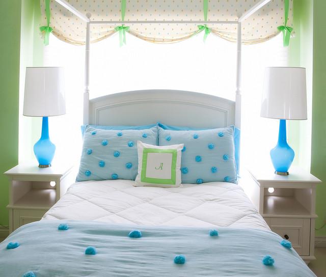 Blue & Green Girl's Room modern-kids