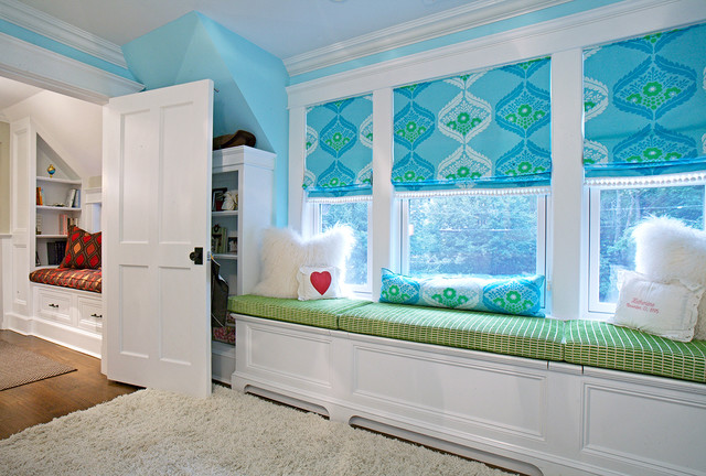 Blue green girls room traditional kids new york for Blue and green girls bedroom ideas