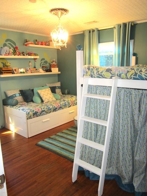 Blue & Green Vintage Rose Teen Bedroom For 2 Sisters