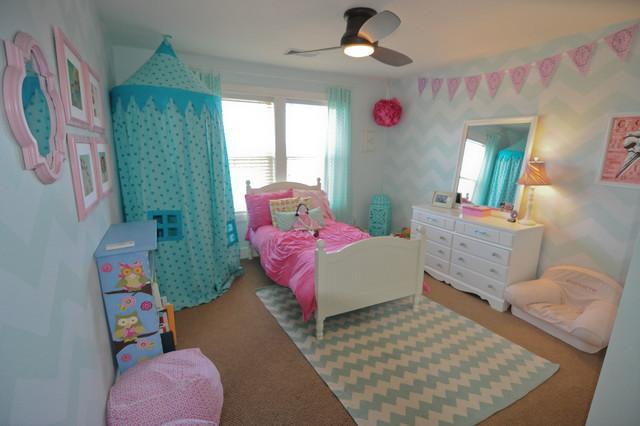 Kids Bedroom Stencils blue & pink chevron girls room - modern - kids - new york -