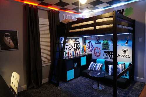 the lights and decals are what make this cool bmx scooter room - Skater Bedroom Ideas