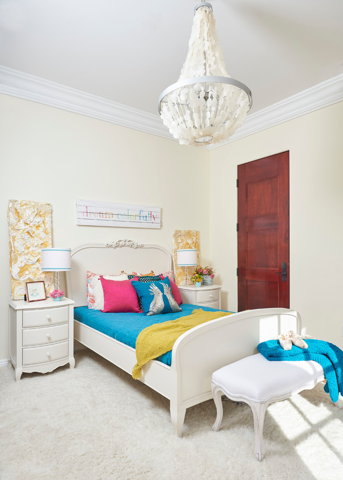 Kids' room - large transitional girl medium tone wood floor kids' room idea in San Francisco with beige walls