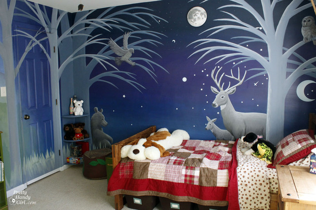 Boys Forest Mural Bedroom eclectic kids