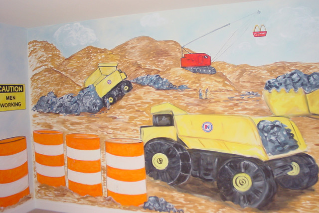 Boy's Room Truck Construction mural - Traditional - Kids - boston - by Crowley Art Studio