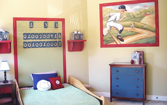boys baseball bedroom home run traditional kids