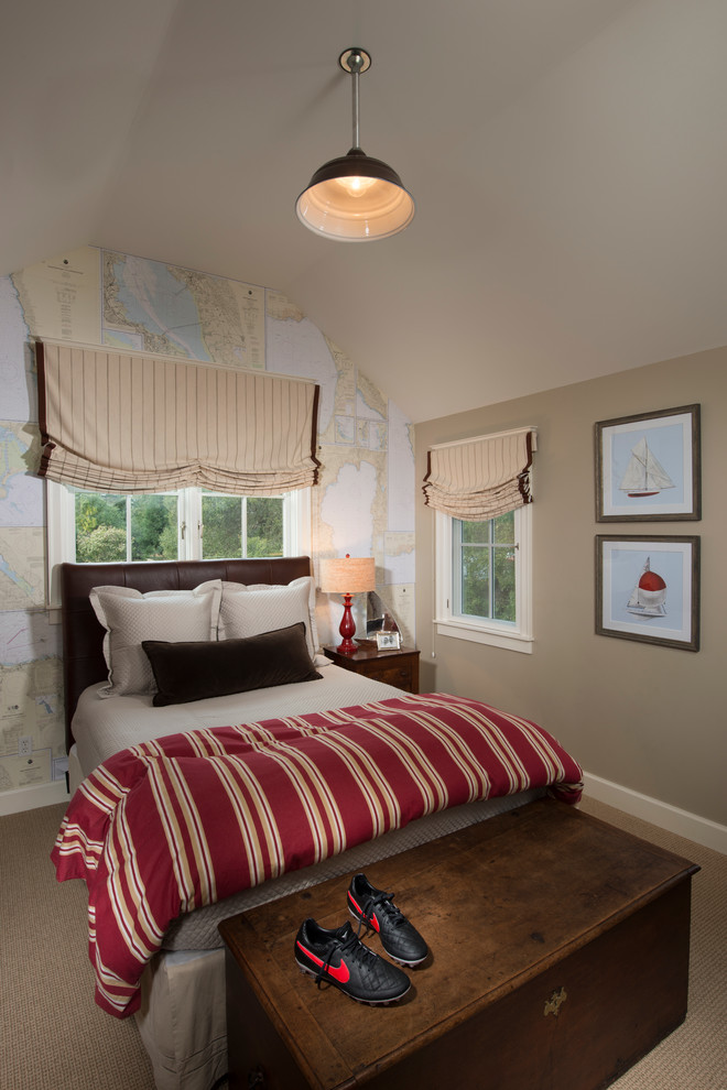 Kids' room - mid-sized traditional boy carpeted kids' room idea in San Francisco with beige walls