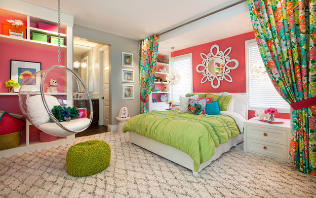 Attractive Bright Girlu0027s Bedroom: Robeson Design Transitional Kids