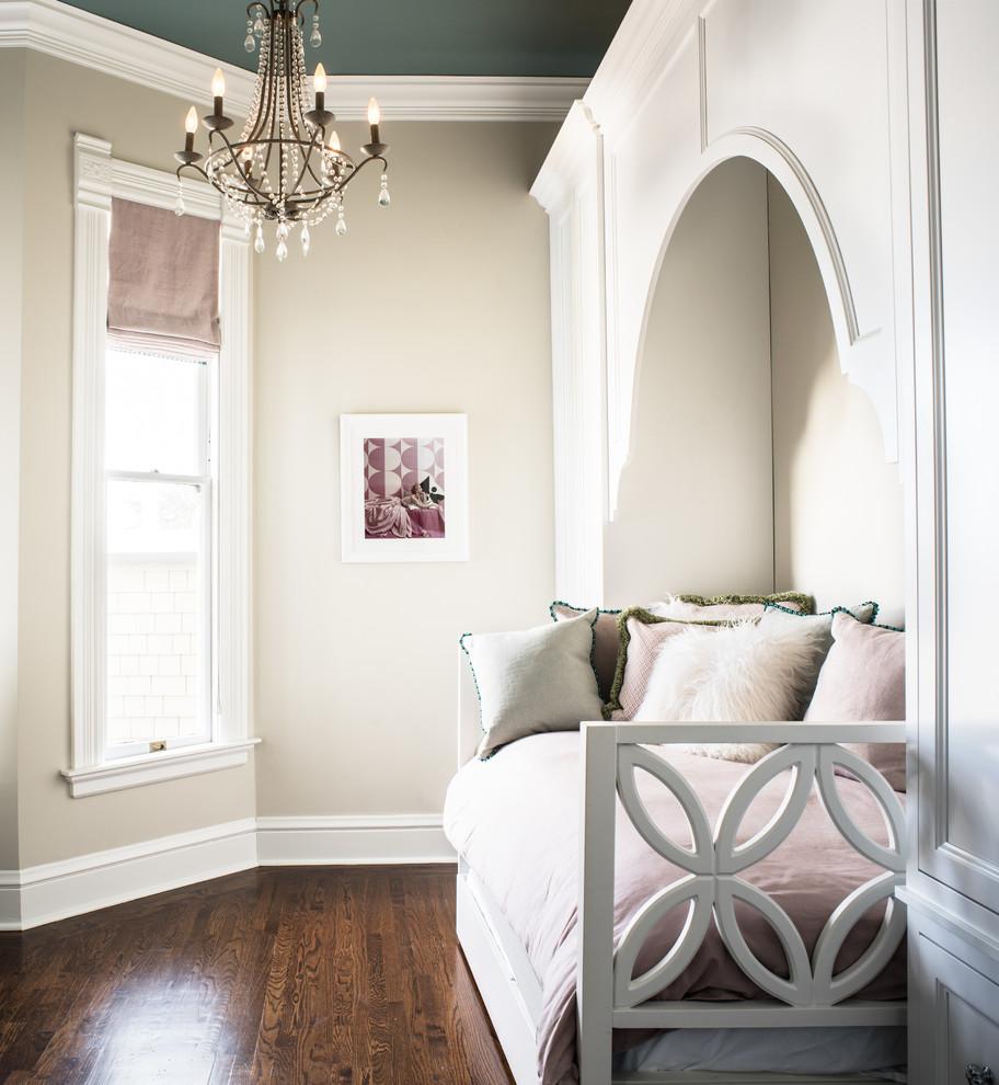 Kids' bedroom - traditional girl dark wood floor kids' bedroom idea in San Francisco with beige walls