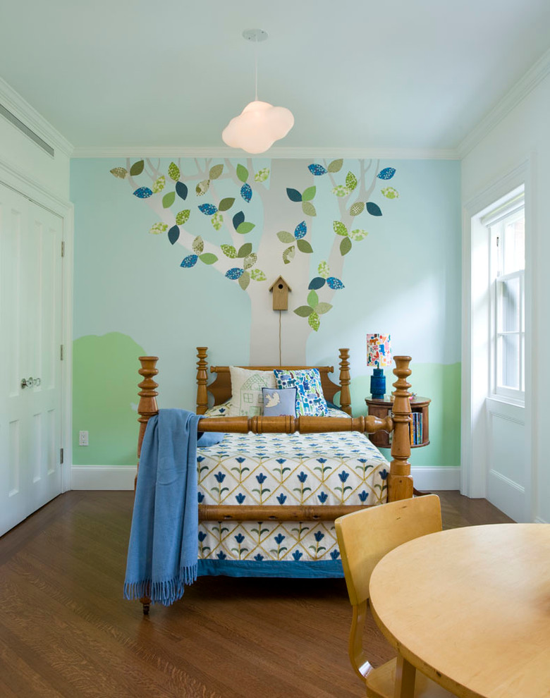 Inspiration for a mid-sized transitional boy medium tone wood floor kids' room remodel in New York with multicolored walls
