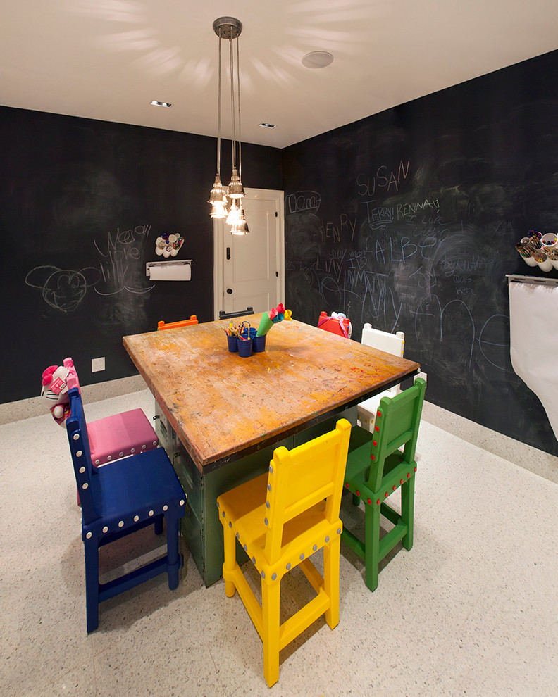 Kids' room - small contemporary gender-neutral ceramic tile kids' room idea in New York with black walls