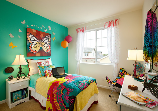 Butterfly themed bedroom eclectic kids santa barbara for Butterfly themed bedroom ideas