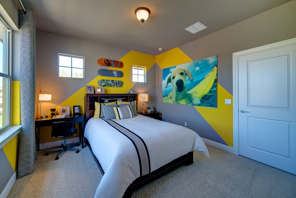 Example of a trendy kids' bedroom design in Austin with gray walls