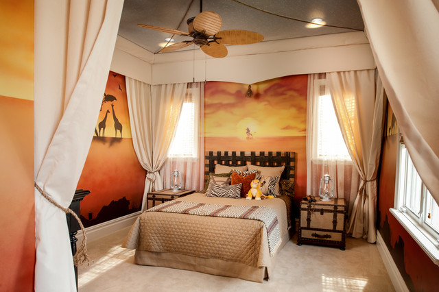 Inspiration for a timeless gender-neutral carpeted kids' room remodel in Orlando with multicolored walls