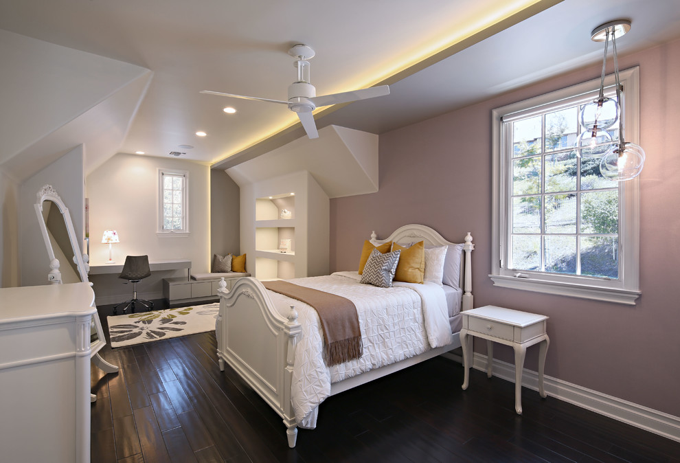 Kids' room - large contemporary girl dark wood floor and brown floor kids' room idea in Los Angeles with purple walls