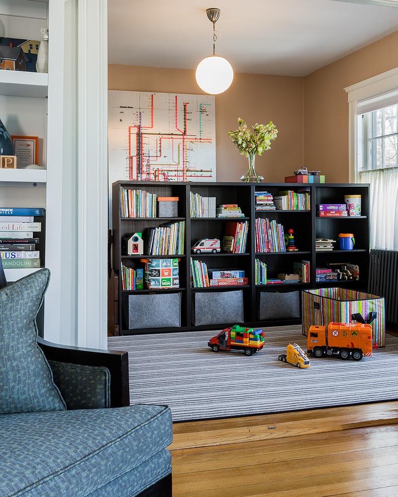 Playroom - mid-sized victorian gender-neutral medium tone wood floor playroom idea in Boston with brown walls