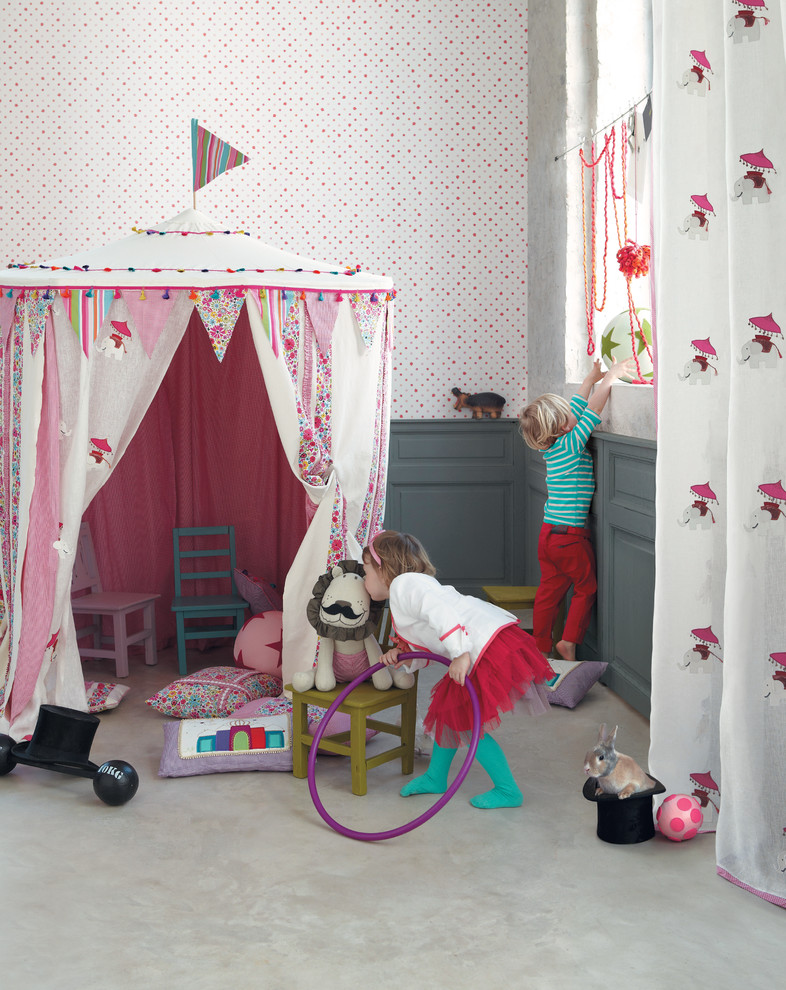 Inspiration for an eclectic gender-neutral carpeted kids' room remodel in Other