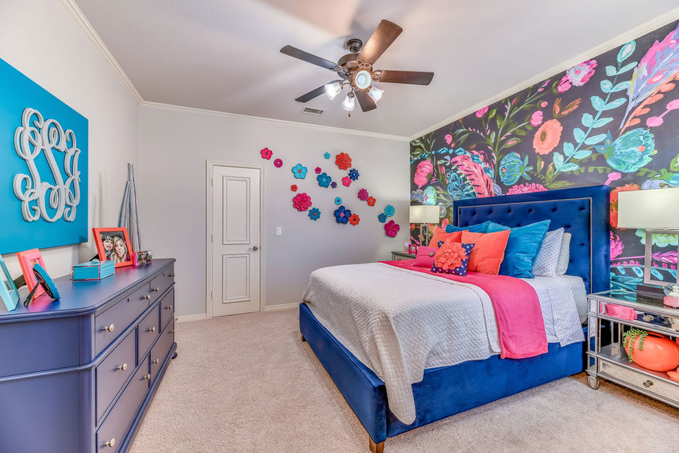 Kids' room - mid-sized transitional girl carpeted and gray floor kids' room idea in Dallas with multicolored walls