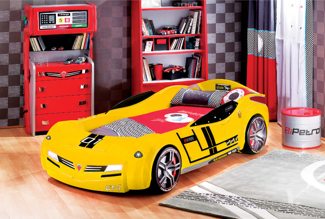many race car beds have fun stickers and hubcap detailing typical young boys will love parents will be pleased with the sturdy plastic bed making it be