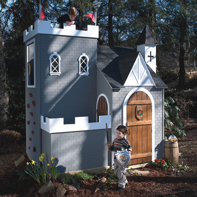 Castle Playhouse W Rock Climbing Wall Traditional