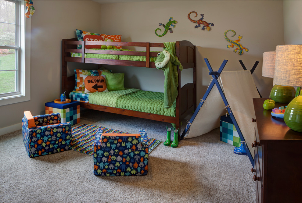 Small transitional boy carpeted and brown floor kids' room photo in Other with beige walls