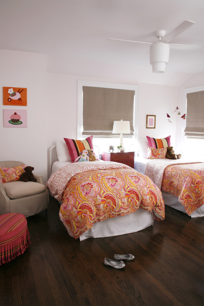 Transitional girl dark wood floor and brown floor kids' room photo in Chicago with white walls