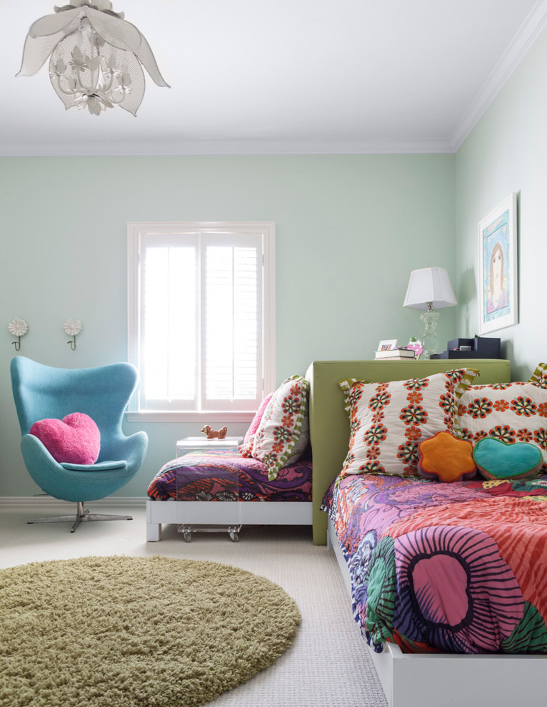 Transitional girl carpeted kids' room photo in Dallas with green walls