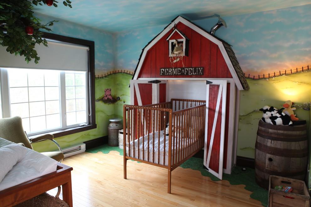 Kids' room - eclectic gender-neutral light wood floor kids' room idea in Other