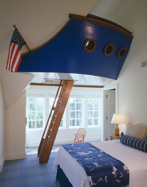 корабль синий в спальне детей