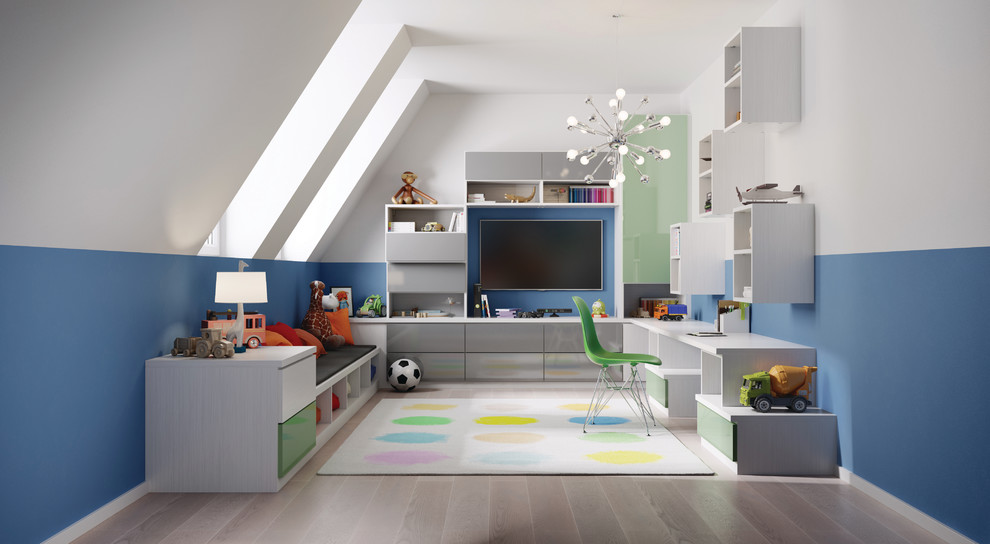 Inspiration for a mid-sized contemporary gender-neutral light wood floor playroom remodel in Nashville with blue walls