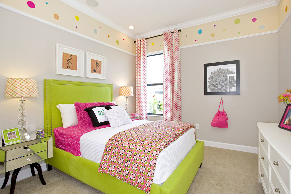 Inspiration for a contemporary carpeted and beige floor kids' room remodel in Tampa with gray walls