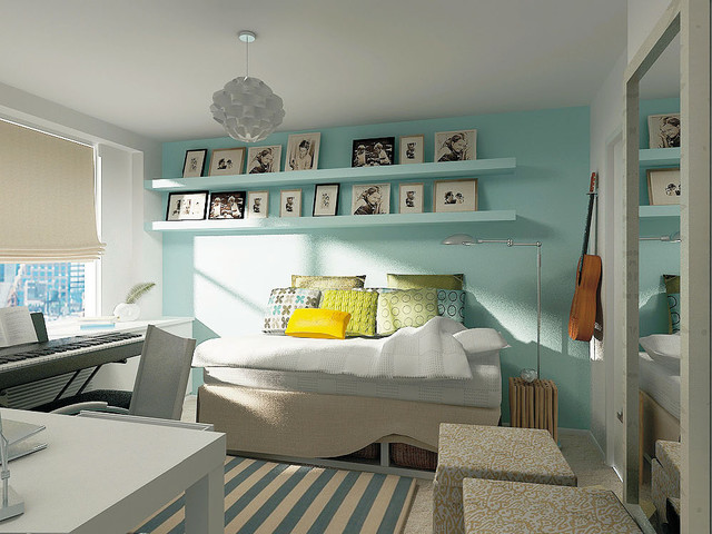 Example of a trendy kids' room design in New York