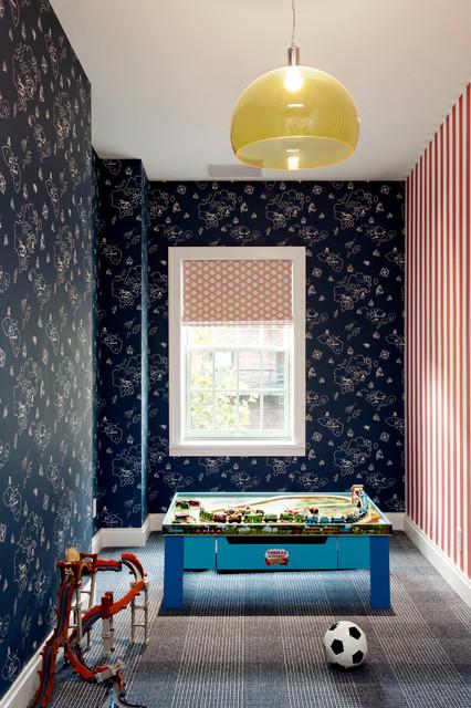 Inspiration pour une chambre d'enfant design avec un mur multicolore et moquette.