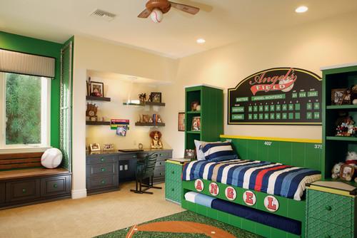 dormitorio decorado con el tema de beisbol