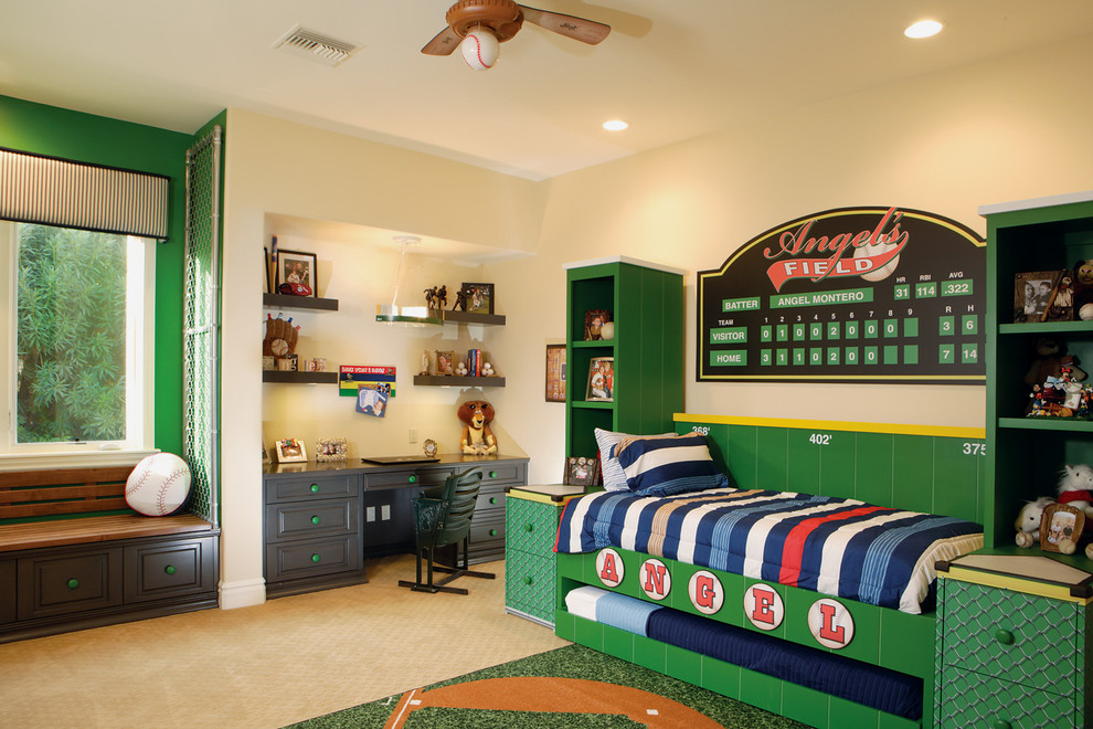 Inspiration for a huge transitional boy carpeted kids' room remodel in Phoenix with multicolored walls