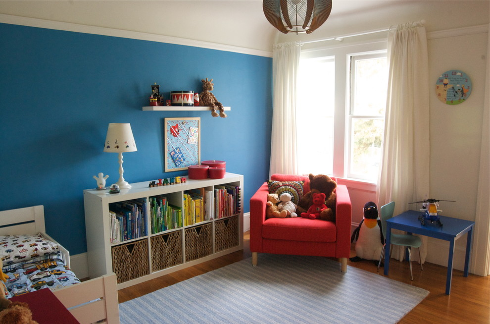 Kids' room - contemporary kids' room idea in San Francisco with blue walls