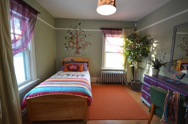 Genial Example Of An Eclectic Girl Medium Tone Wood Floor Kidsu0027 Bedroom Design In  Other With