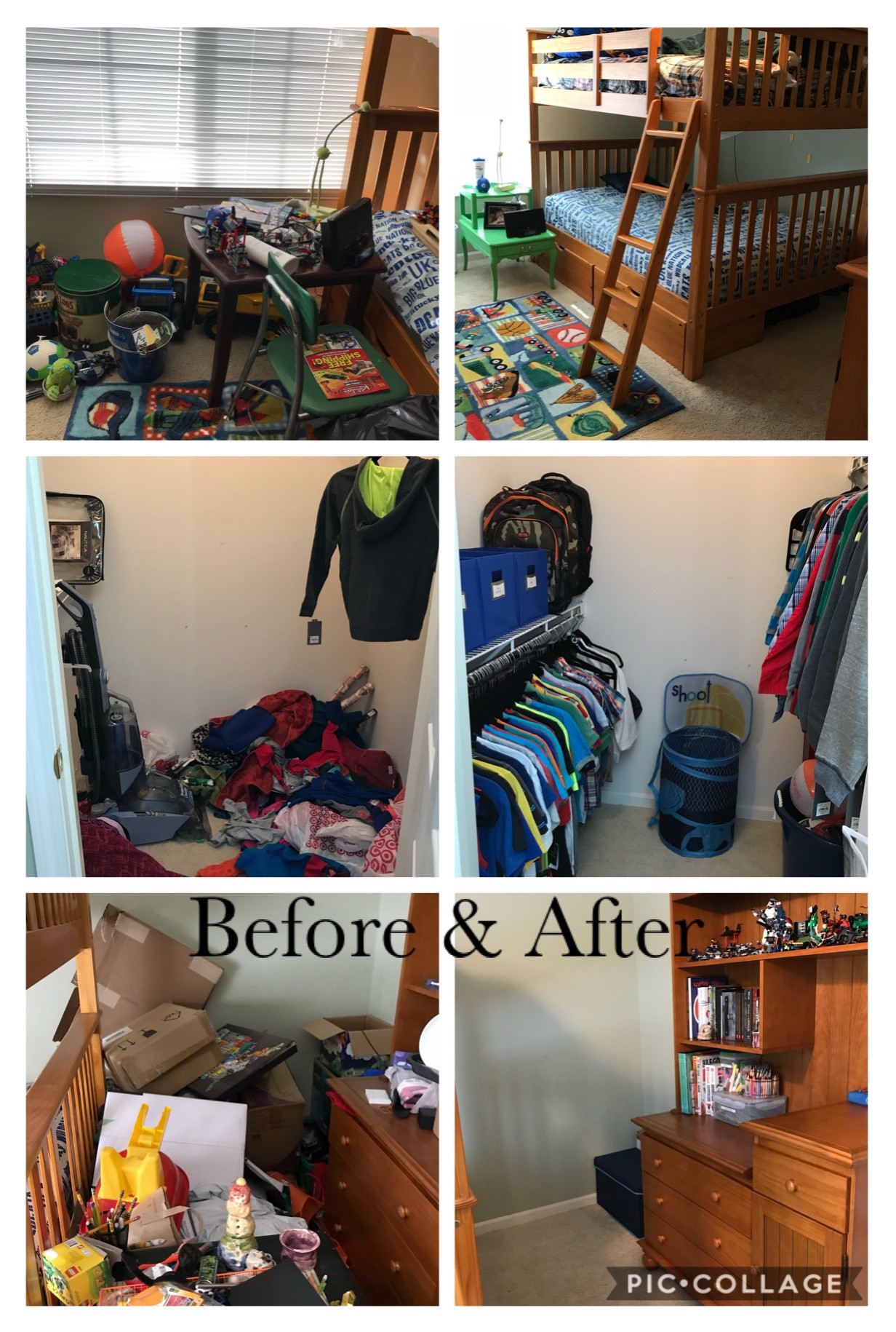 Child's room and closet before and after