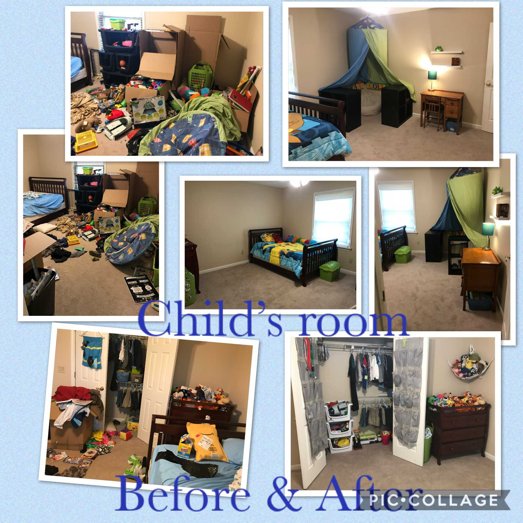 Child's room before and after